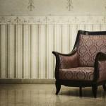 Vintage-Möbel und -Tapete